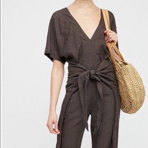 Free people linen blend jumpsuit - size L